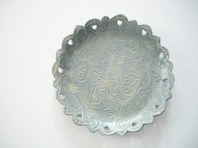 French Powder Blue Vintage Cookie Plate - CatsPawPottery