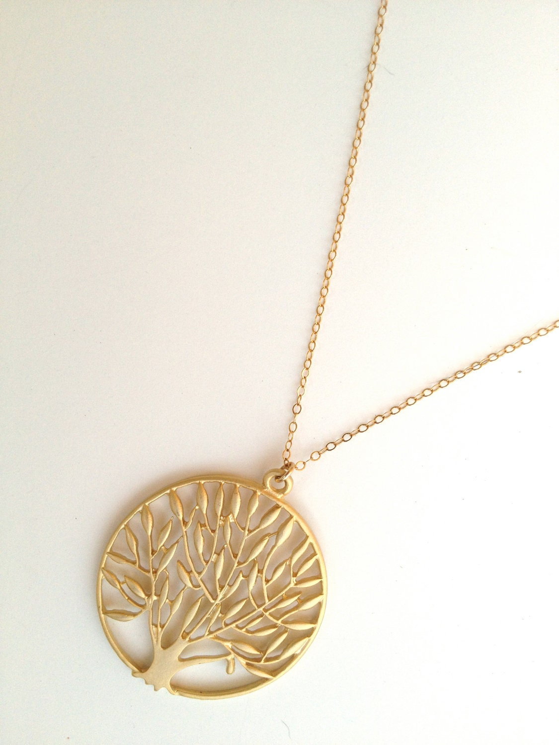 Long 14K Gold Filled Tree of Life Necklace