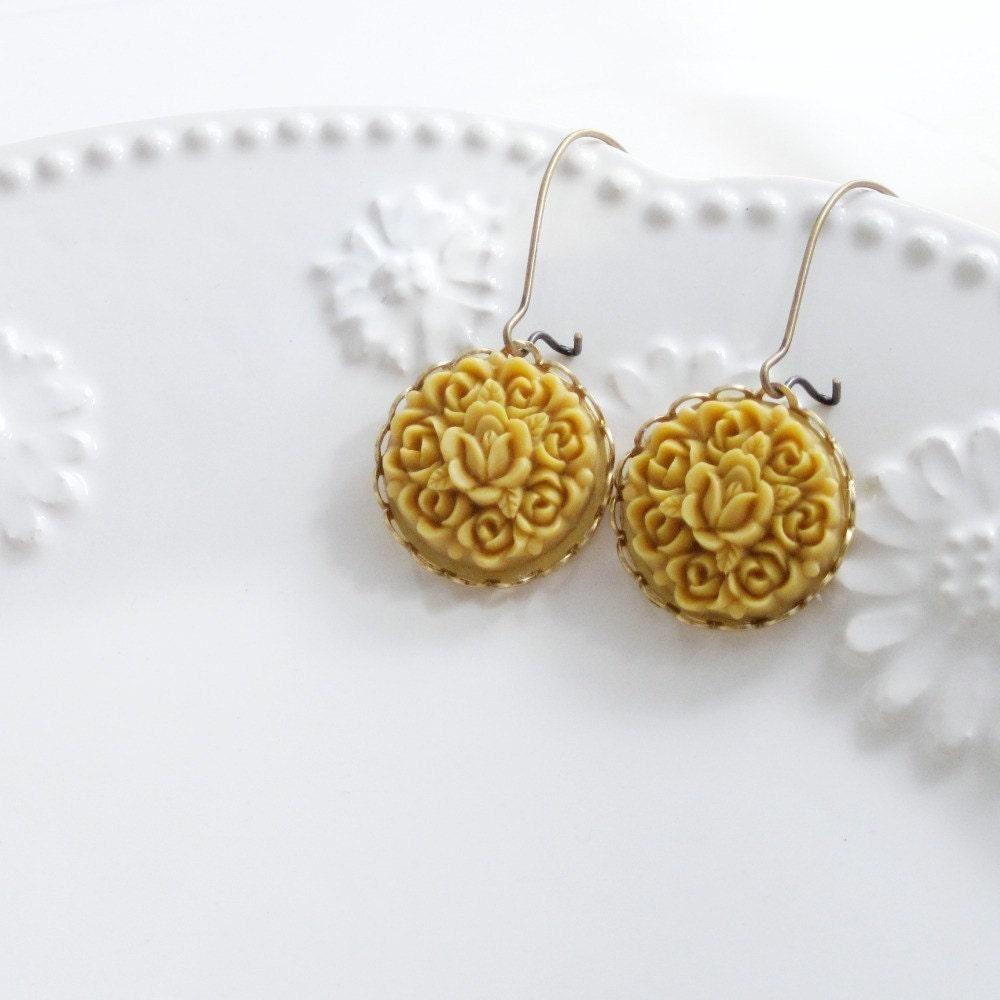 Yellow Flower Earrings, Mustard Flower Earrings, Flower Cluster Earrings, Vintage Style Jewelry, Buttercup Yellow, Autumn Fashion - Garland - laurenblythedesigns