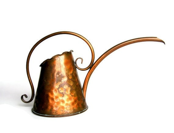 Copper Watering Can Vintage Gregorian Hammered Rustic Finish Etsy Home & Garden - veraviola