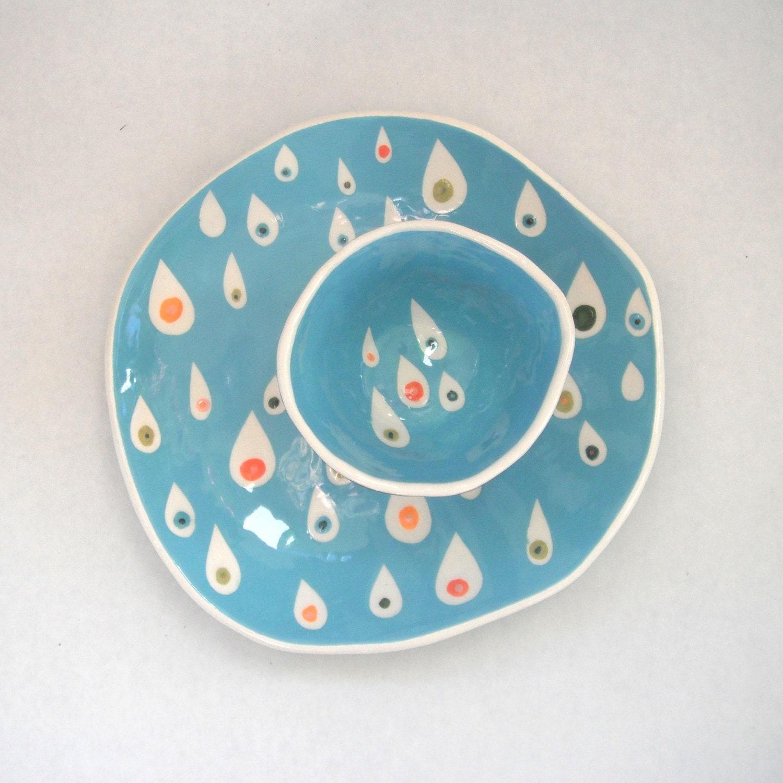 Ready to Ship-----Dessert plate Pink Raindrops - CeramicaBotanica