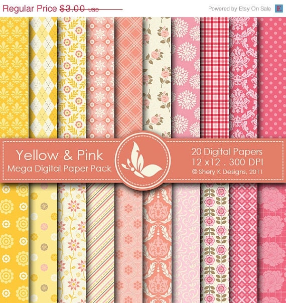 50% off all store Yellow & Pink Mega Paper Pack - 20 Printable Digital papers - 12 x12 - 300 DPI - SheryKDesigns