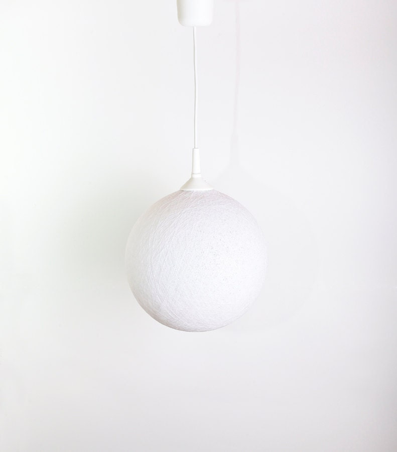 Handmade lamp, lamp shade, pendant lamp, ceiling lamp, round shape, hanging lamp, Contemporary design interior accent Winter white