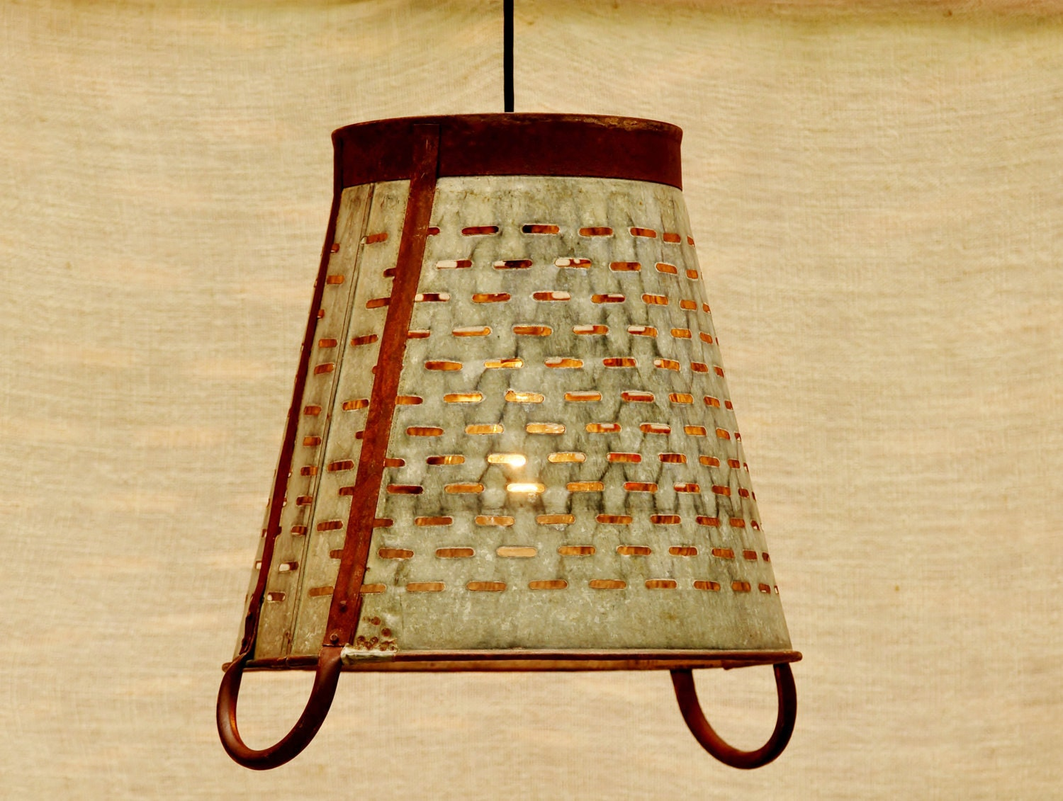 Hanging Industrial Pendant Light - Vintage Metal Olive Basket from Italy - TinkerLighting