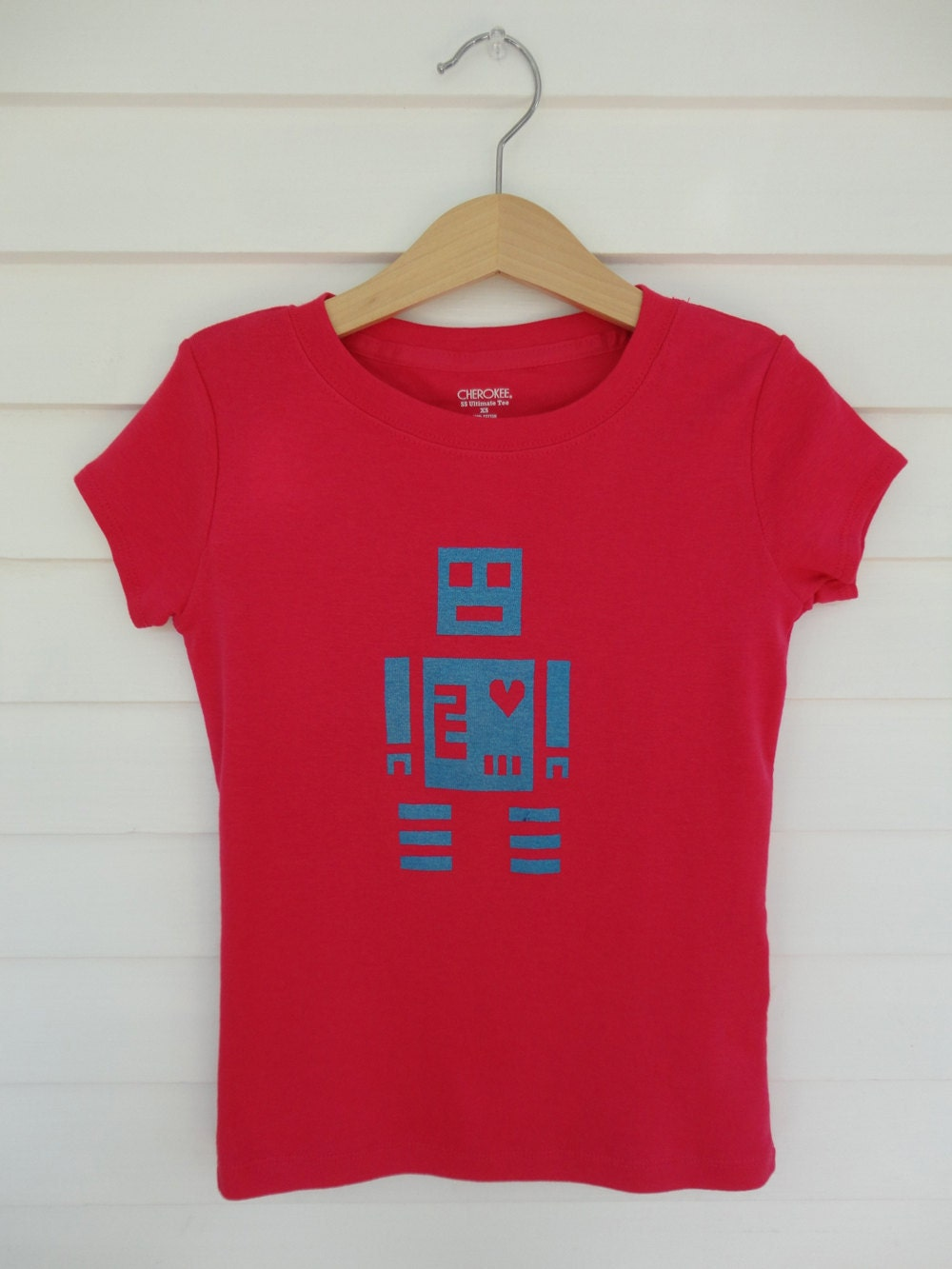 Girls Robot Love Screenprinted T-shirt -- Bright Pink