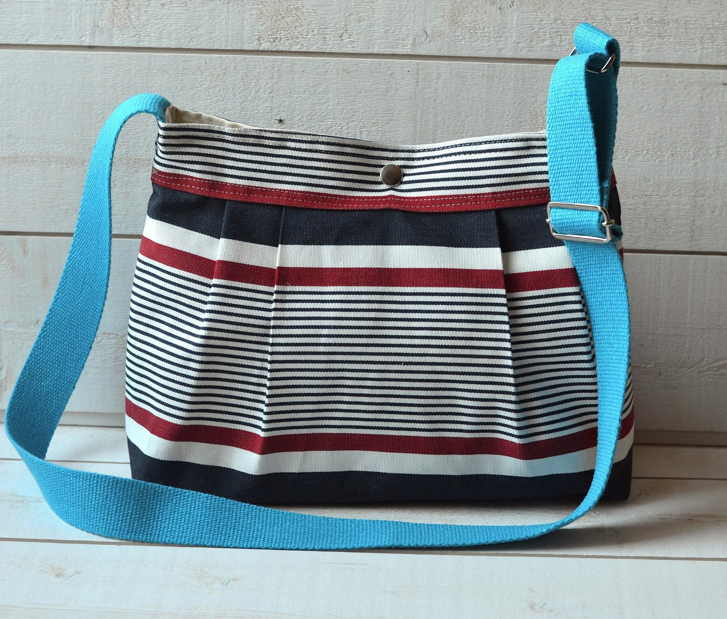 Small Cross body bag Stockholm BLUE Denim navy ,Red  and Ecru  Pleated French Messenger