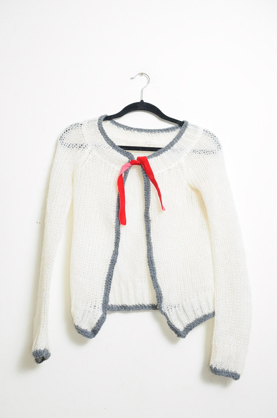 Super Cute Vintage 80s/90s Knit Off White and Grey Cardigan Sweater With Small Red Velvet Ribbon In Front - LipstickDinosaur