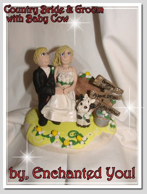 Country Western Farm Wedding Cake Topper From EnchantedYou54449