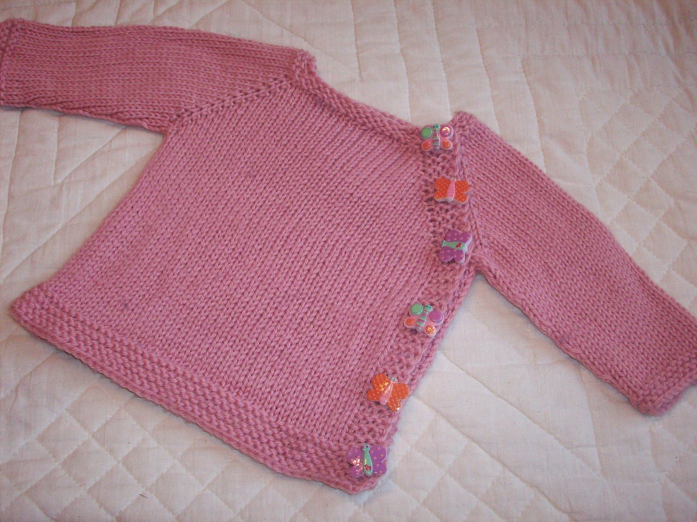 Carnation Pink Baby Sweater Hand Knit in Superwash Merino Wool 0-3 Month