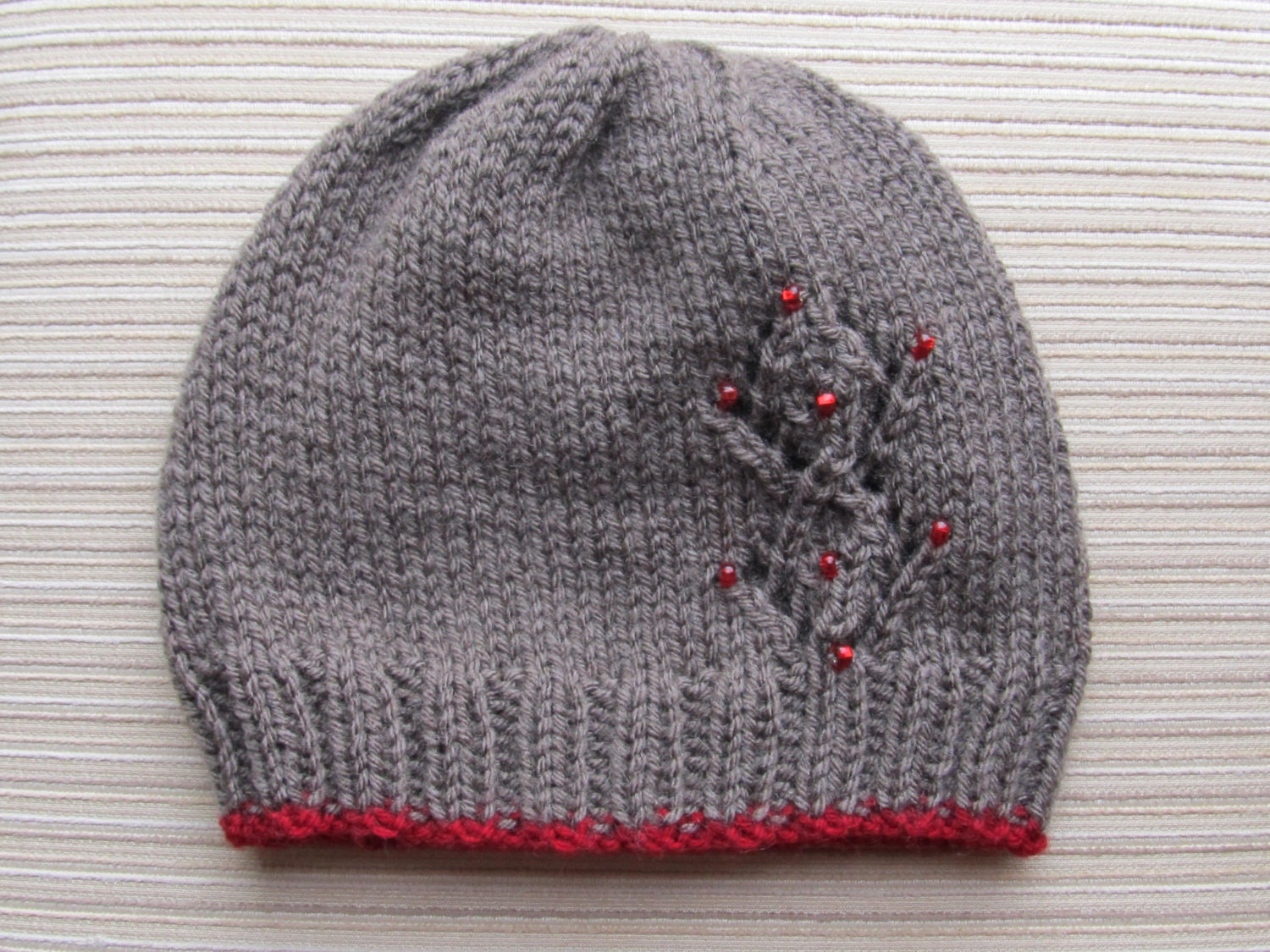 Number 95 PDF Knitting Pattern Seamless Hat with Lacy Diamonds and Red Beads