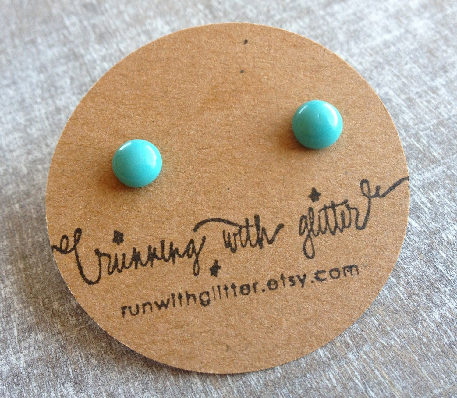 Tiny Vintage Glass Turquoise Earrings