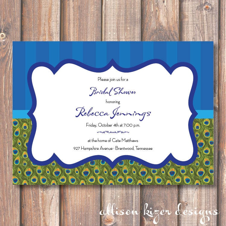 Peacock Printable Bridal Shower Invitation