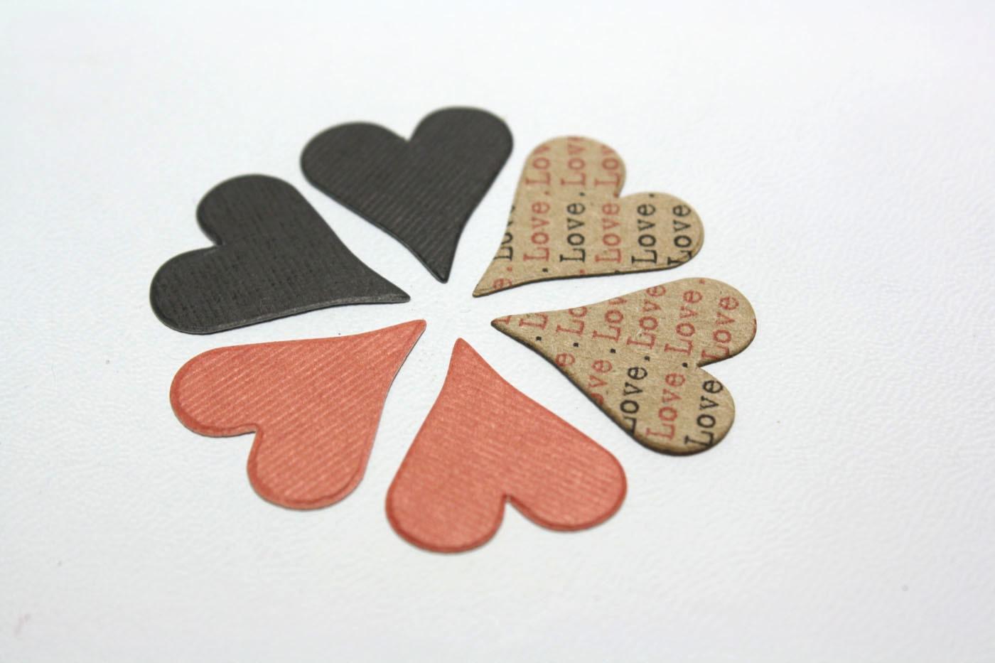 "60 - Paper ""Love"" Hearts - Brown Bag / Matte Black / Matte Pale Rose"
