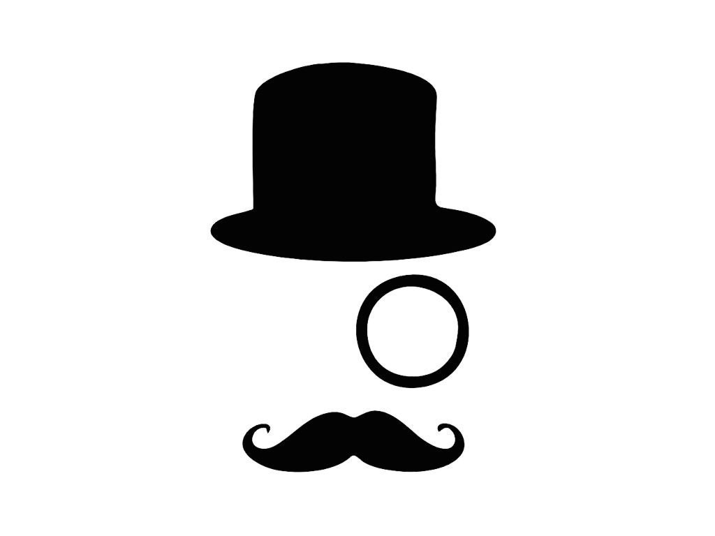 "Tophat Monocle and Mustache Vinyl Decal Sticker for Laptops and Cars - 5"" x 3.8""  - 28 Color Options"