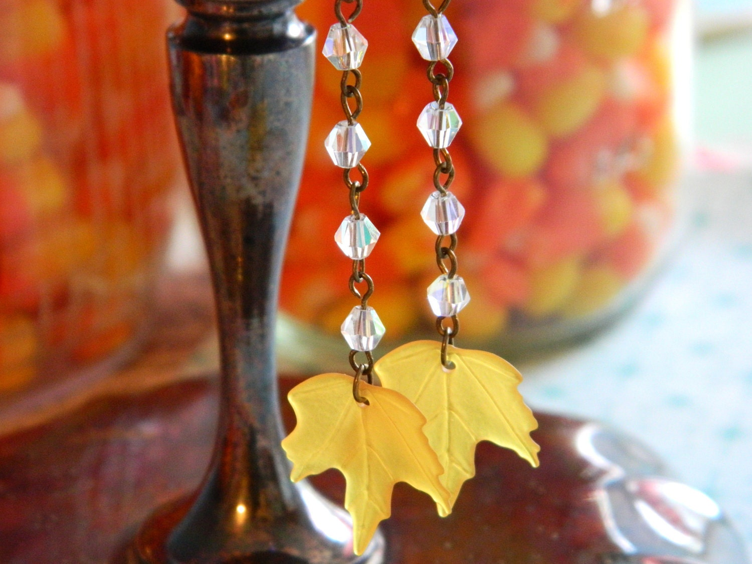 Earrings Vintage Autumn Fall Yellow Lucite Leaves AB Swarovski Crystals - Rain Drops on Harvest Leaves