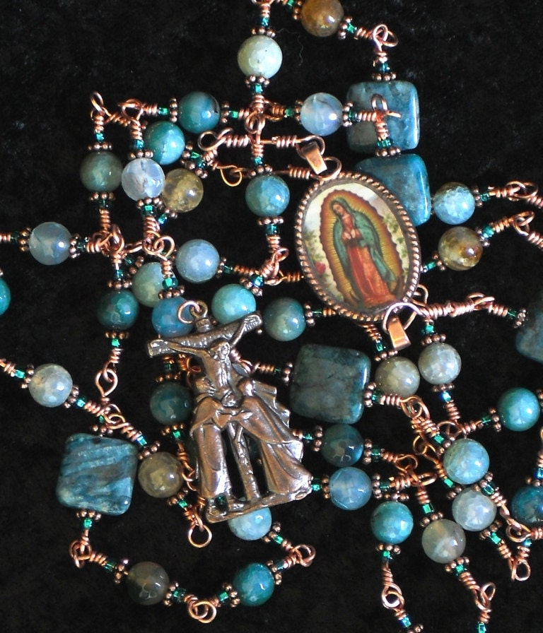 Catholic Rosary Lady of Guadalupe Teal Blue Agate and Copper