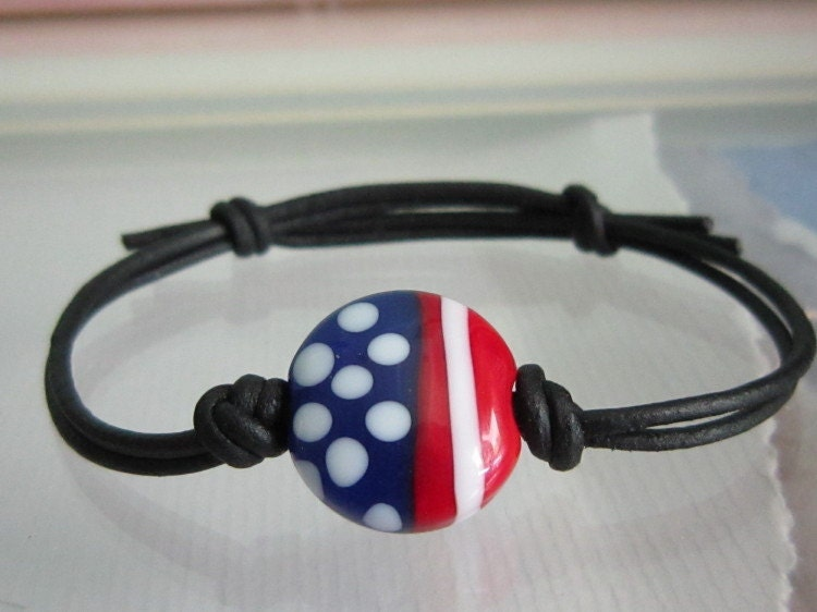 Old Glory Lampwork Beaded Black Leather Bracelet