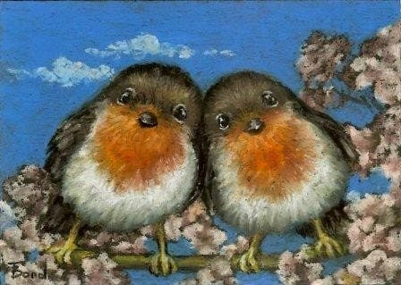 Two robins singing love songs in cherry blossom - ACEO PRINT of an original painting by Tanya Bond - tanyabond
