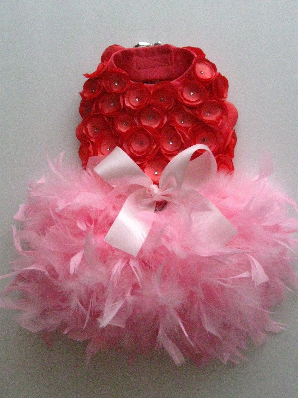 Мандарин - Coral и розовый Розетка перо Harness собак платье