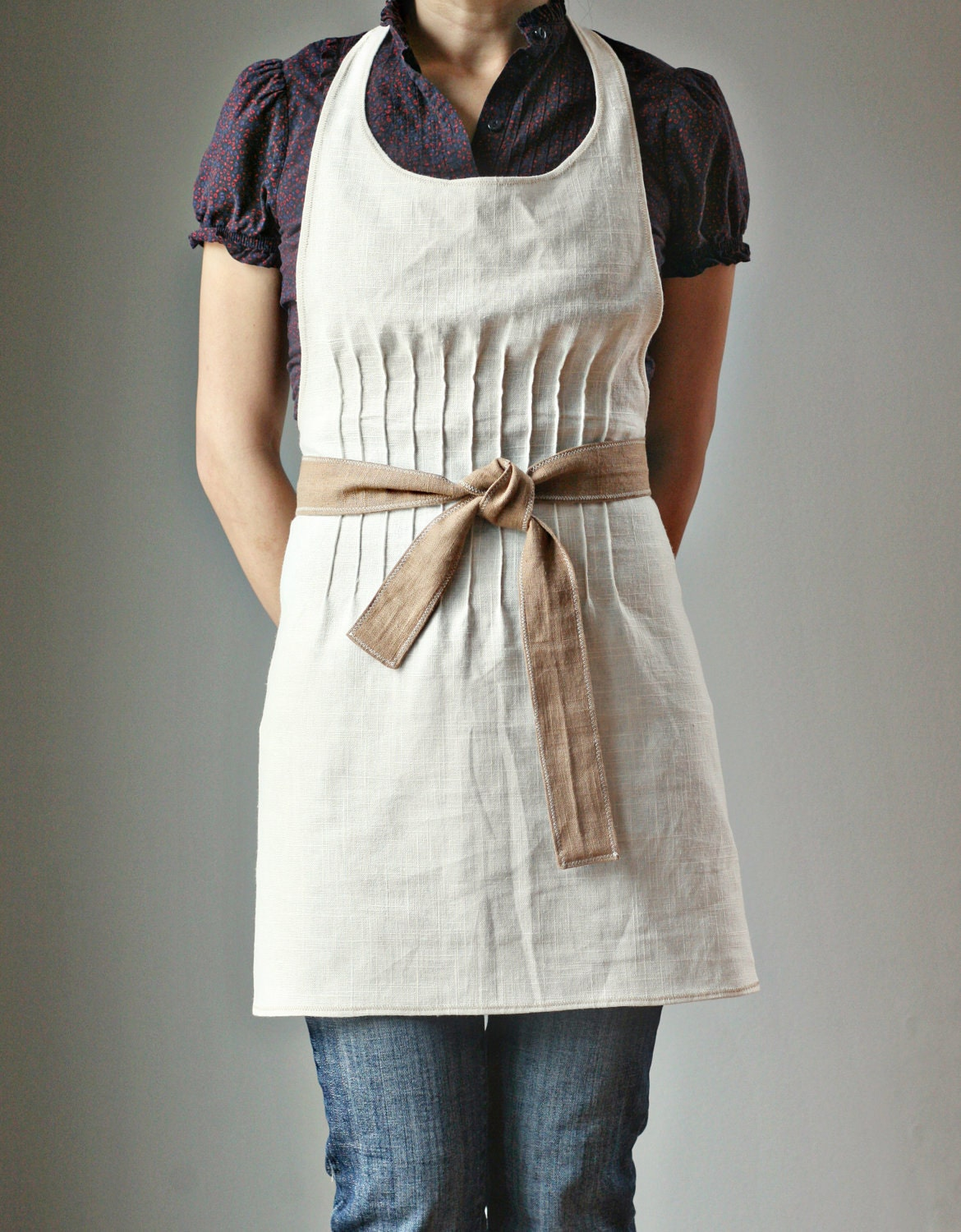 Apron, off white Linen with latte brown linen belt. MADE TO ORDER.