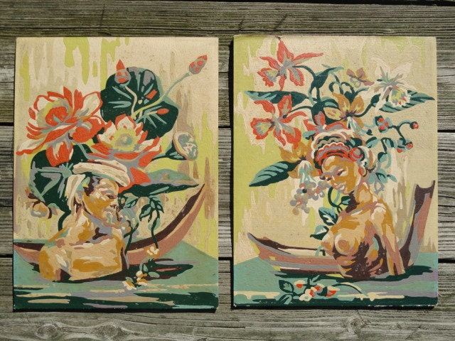 Vintage Paint By Number Figures exotic Tropical SET South Pacific