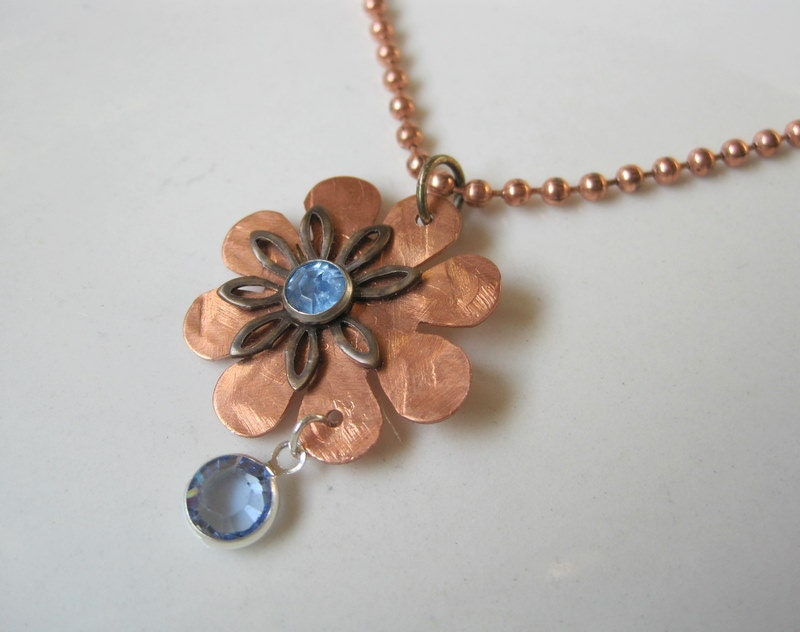 Hammered Copper  Neckalce . Brass Flower Rivetted Chain  - Nature's Teardrop - JemsbyJBandCompany