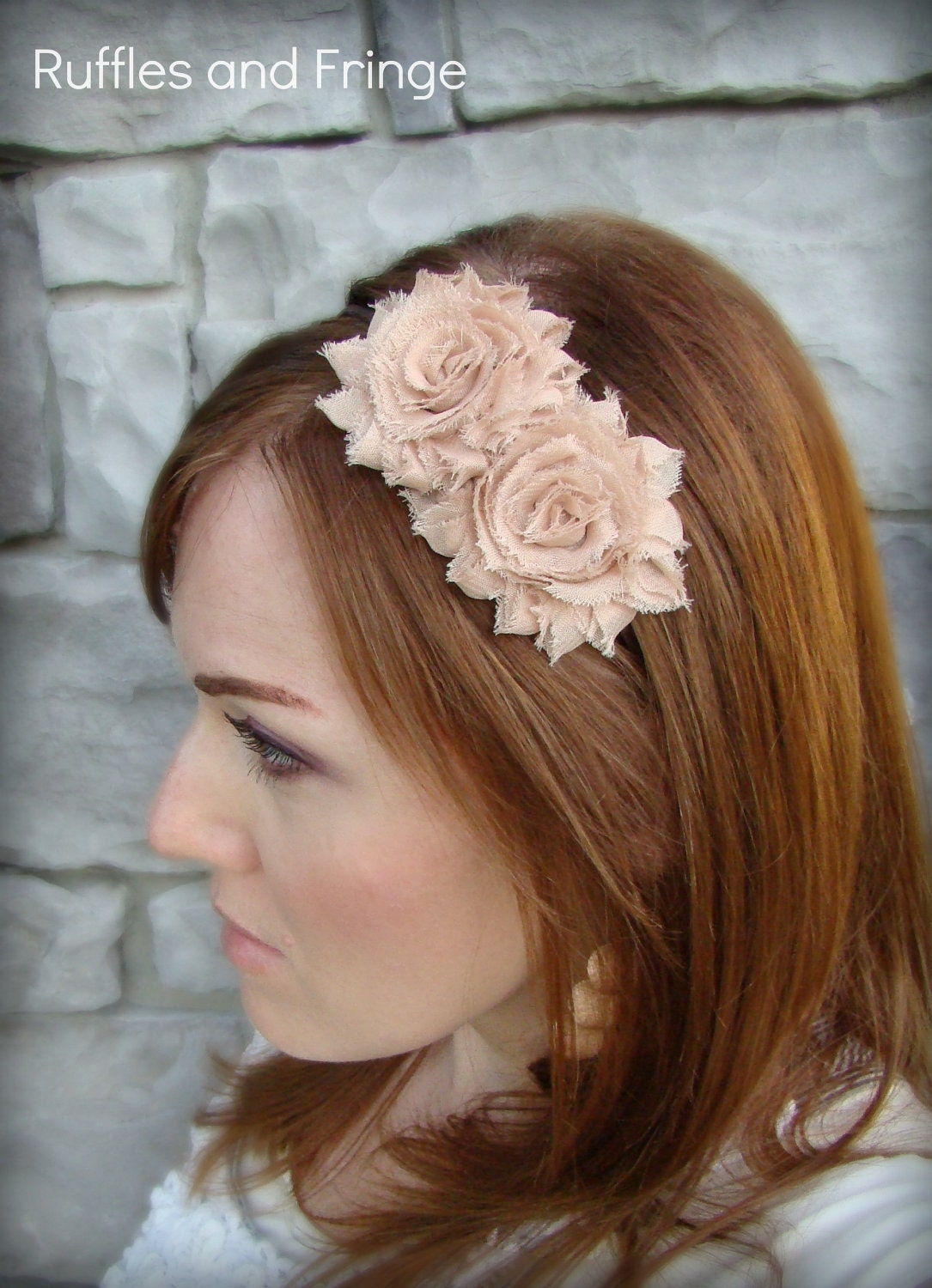 Adult Headband in Mocha - Shabby Chic Flower for Girls and Women