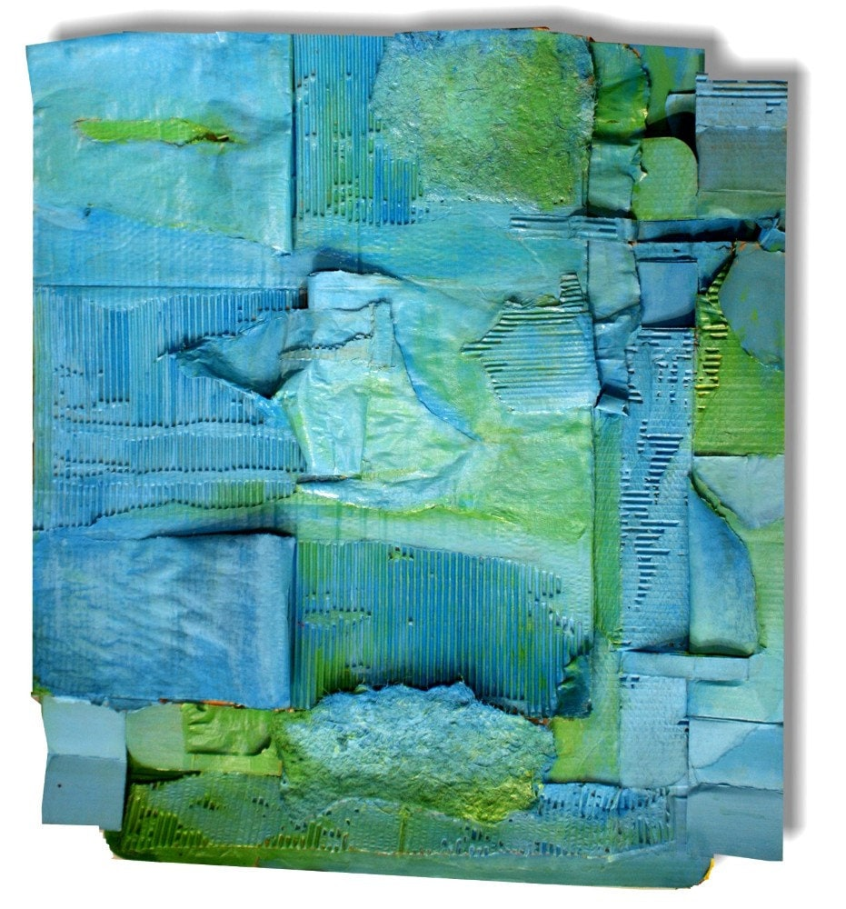 Untitled (Blue and Green) - painted mixed media assemblage