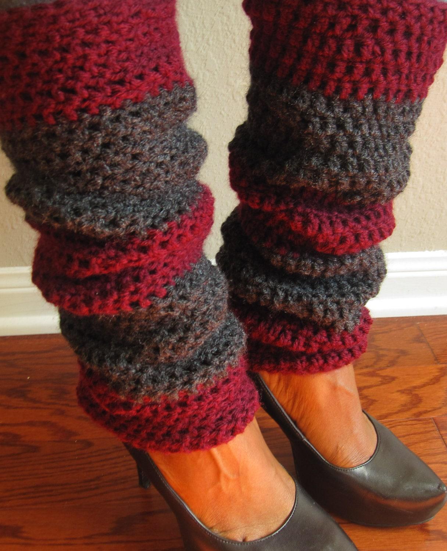 Crochet Legwarmers - Burgundy & Gray - MOMO