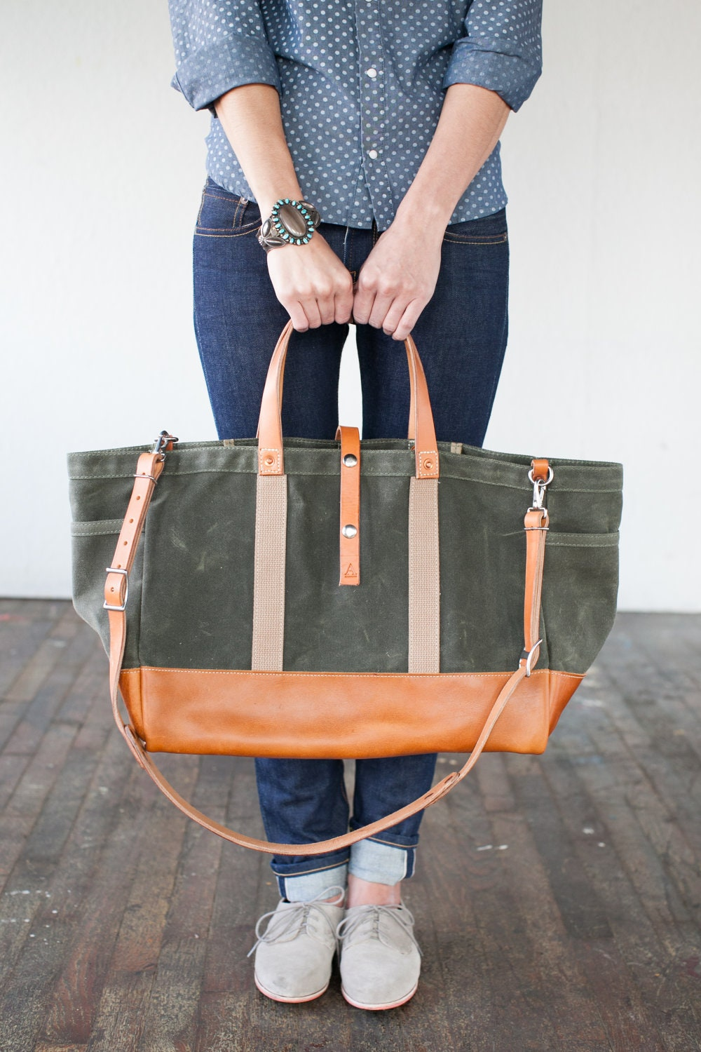 No. 175 Leather Bottom Tote - ArtifactBags