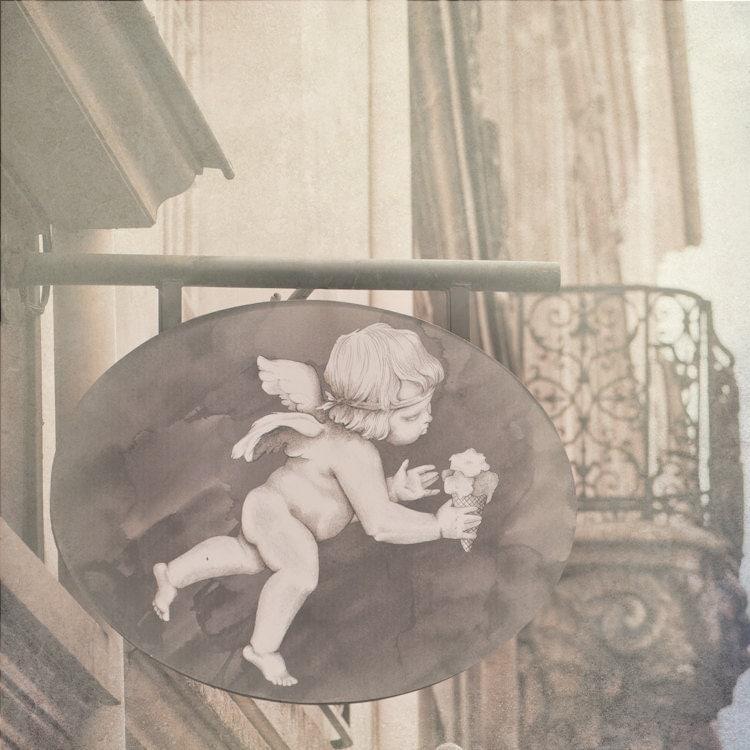 Paris Photo - Amorino - Улица Знак Херувим в Париже, Франция, Ностальгический французского изобразительного искусства Путешествия Фотография