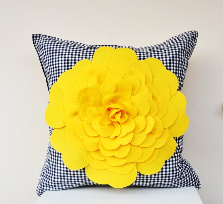 SALE %20 OFF Yellow Felt Flower in ECO Friendly Naturel Cotton Cushion Cover with Felt Flower Navy Blue Gingham Fabric
