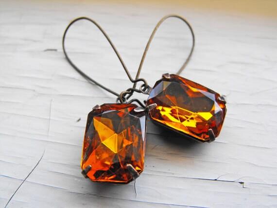 Topaz Earrings, Vintage Rhinestone Earrings Estate Style Earrings