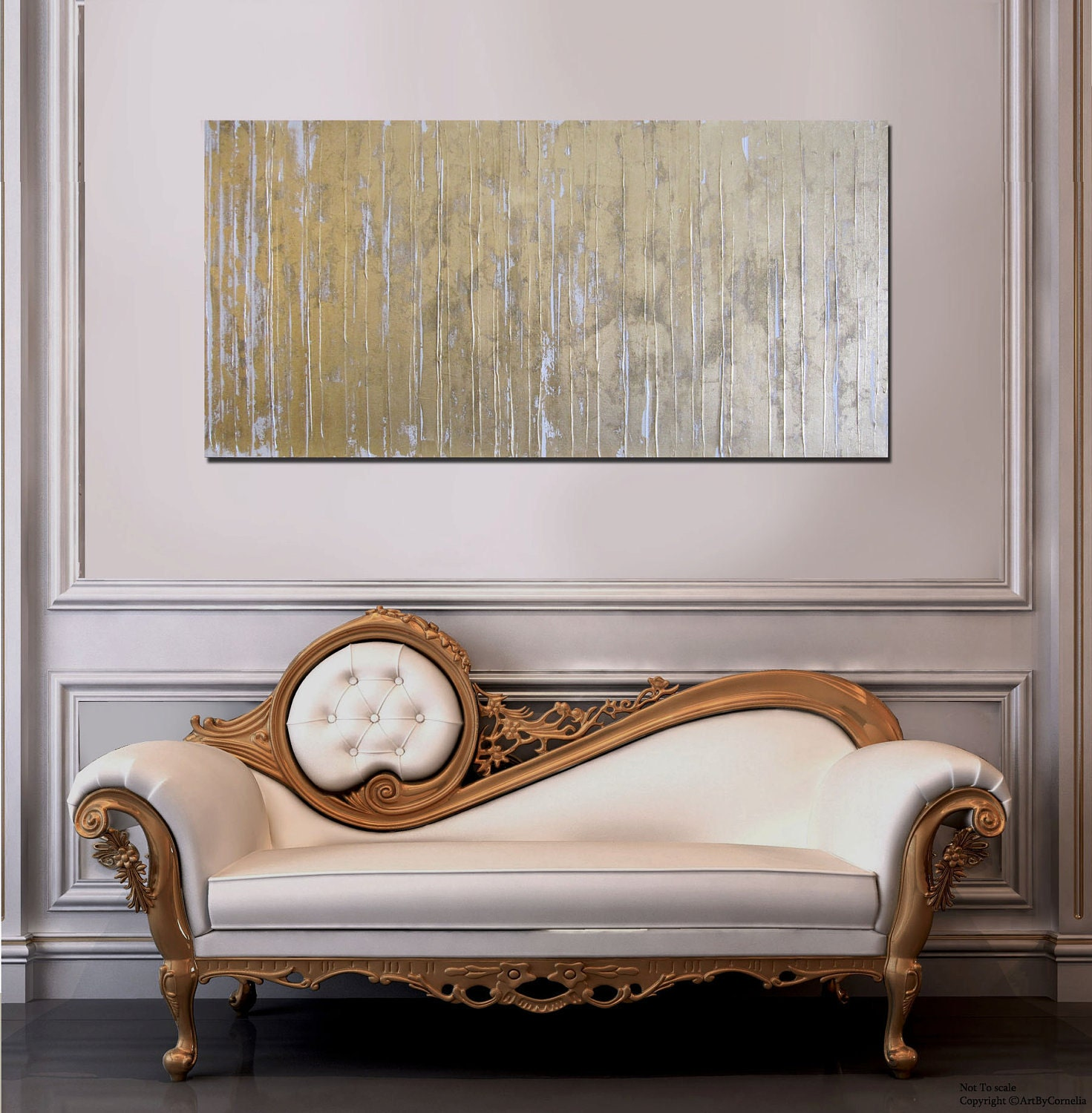 MADE TO ORDER Abstract Textured Gold and White Modern Contemporary Painting
