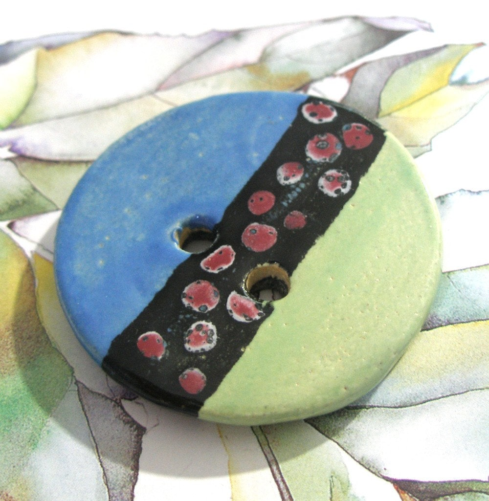 Tribal  Treasure  Handmade Ceramic Button  SRA