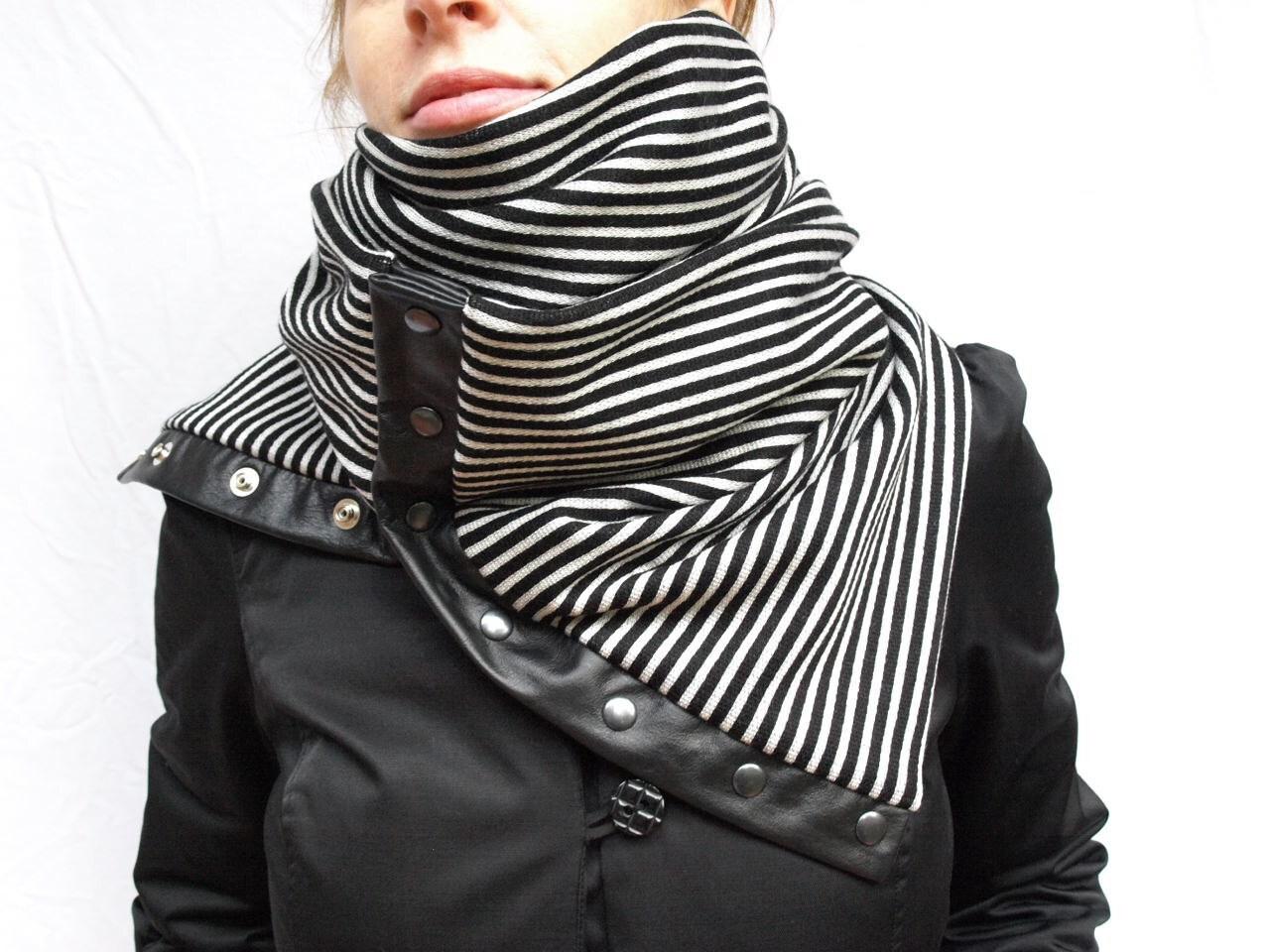 Chunky stripes circular infinity scarf