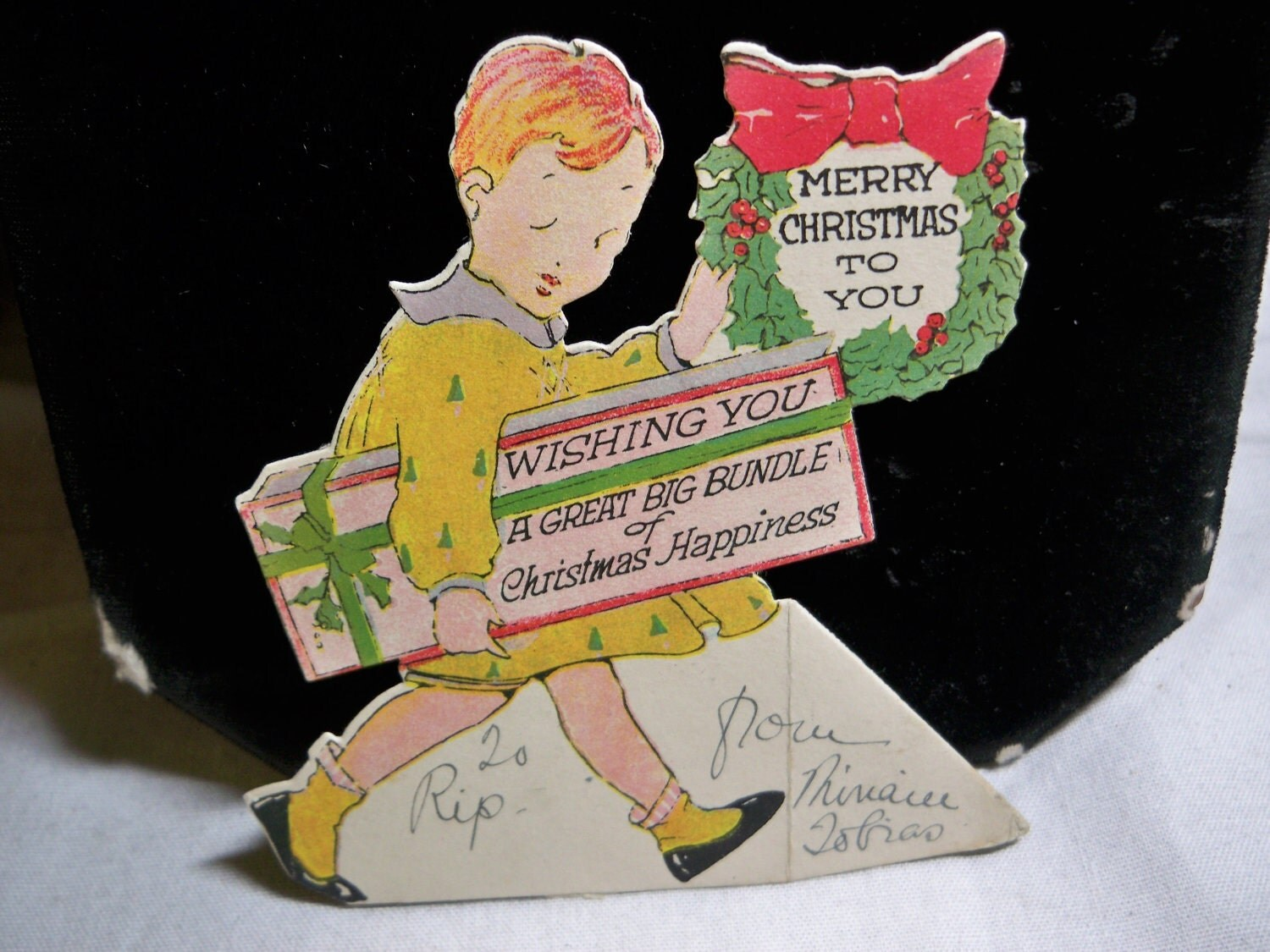 1920s Die Cut Christmas Card