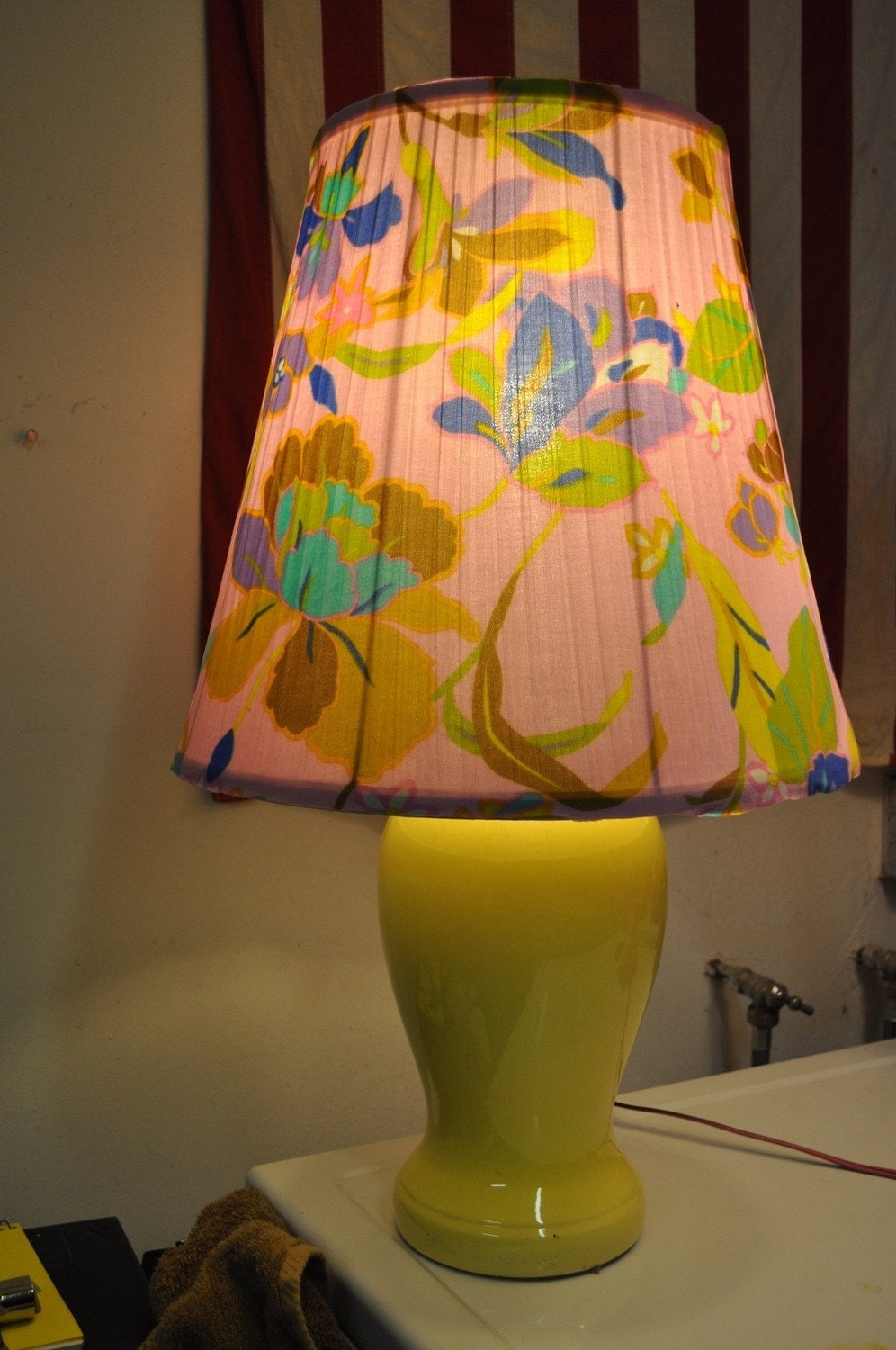 Floral Mod Lamp Handmade Upcycled