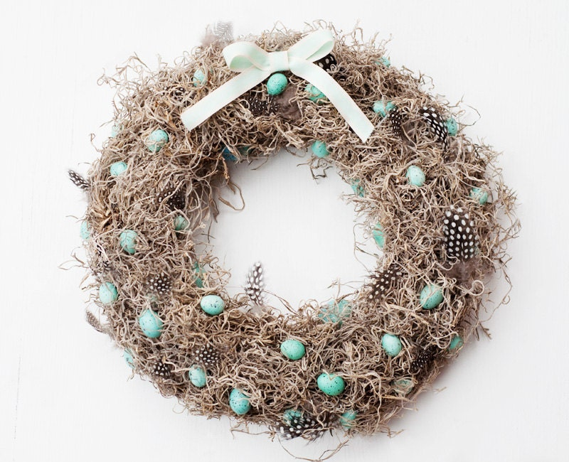Mint and mossy Easter wreath - Home decor - Moss wreath - botanicbotanic