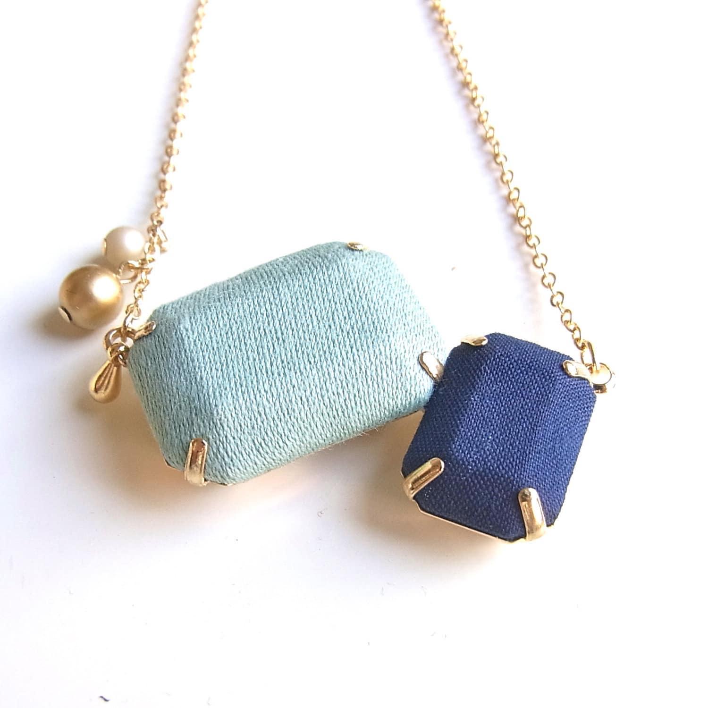 Fabric  2 Jewel Necklace - D - HOMAKO