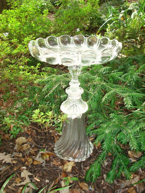 "Elegant, sophisticated, and gracious pedestal bird bath.  ""The Angelina"" is garden art sculpture made with repurposed glass.  Upcycled art."