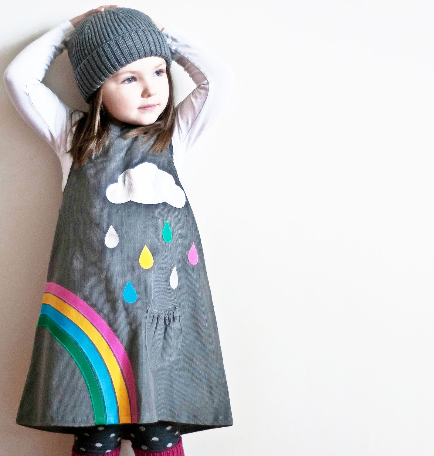 RAINBOW & silver cloud- Little girls dress-grey corduroy age 6M to 6T-Wild Things Dresses