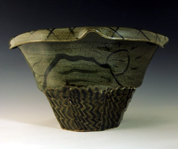 stoneware thrown and altered vase