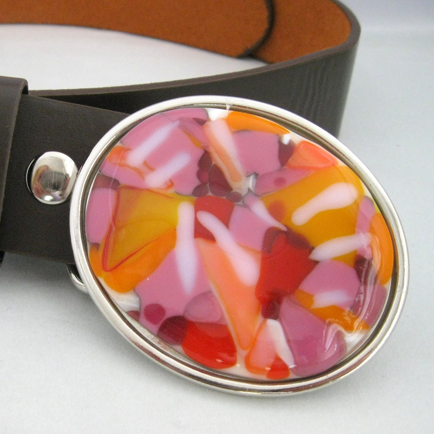 summer fashion  - Sugar Pie belt, lovely, tangerine, hot pink, handmade belt buckle for women, abstract, bright colors