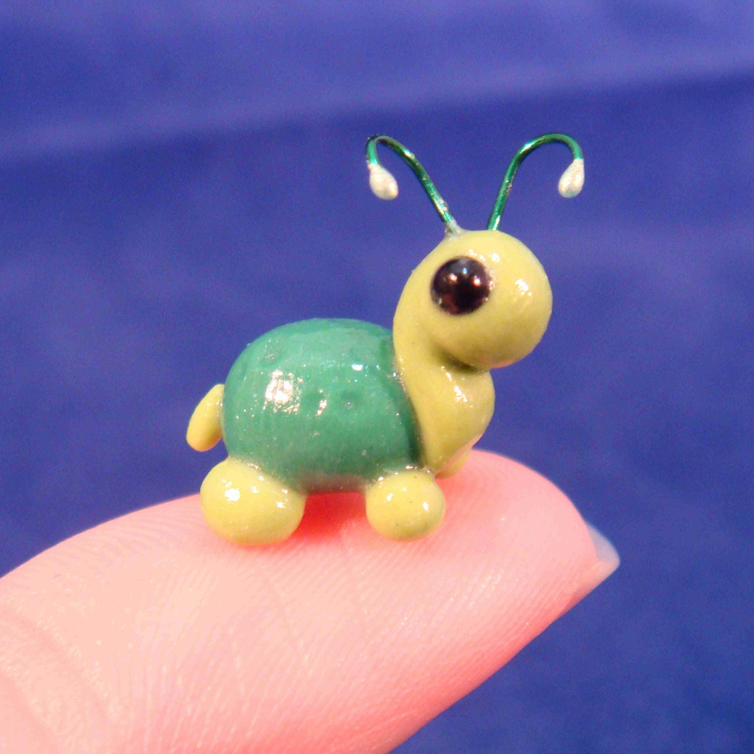 Turtle Bug- Polymer clay turtle with fairy antennae - TinySculptor