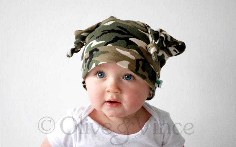 Green camouflage hat baby boy double knot beanie cap funky cute design kids spring summer fashion accessory toddler clothing black brown - OliveAndVince