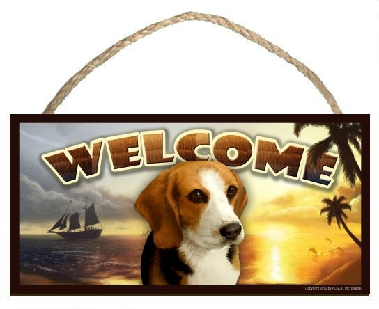 "Beagle Summer Season 10"" x 5"" Wooden Welcome Sign"