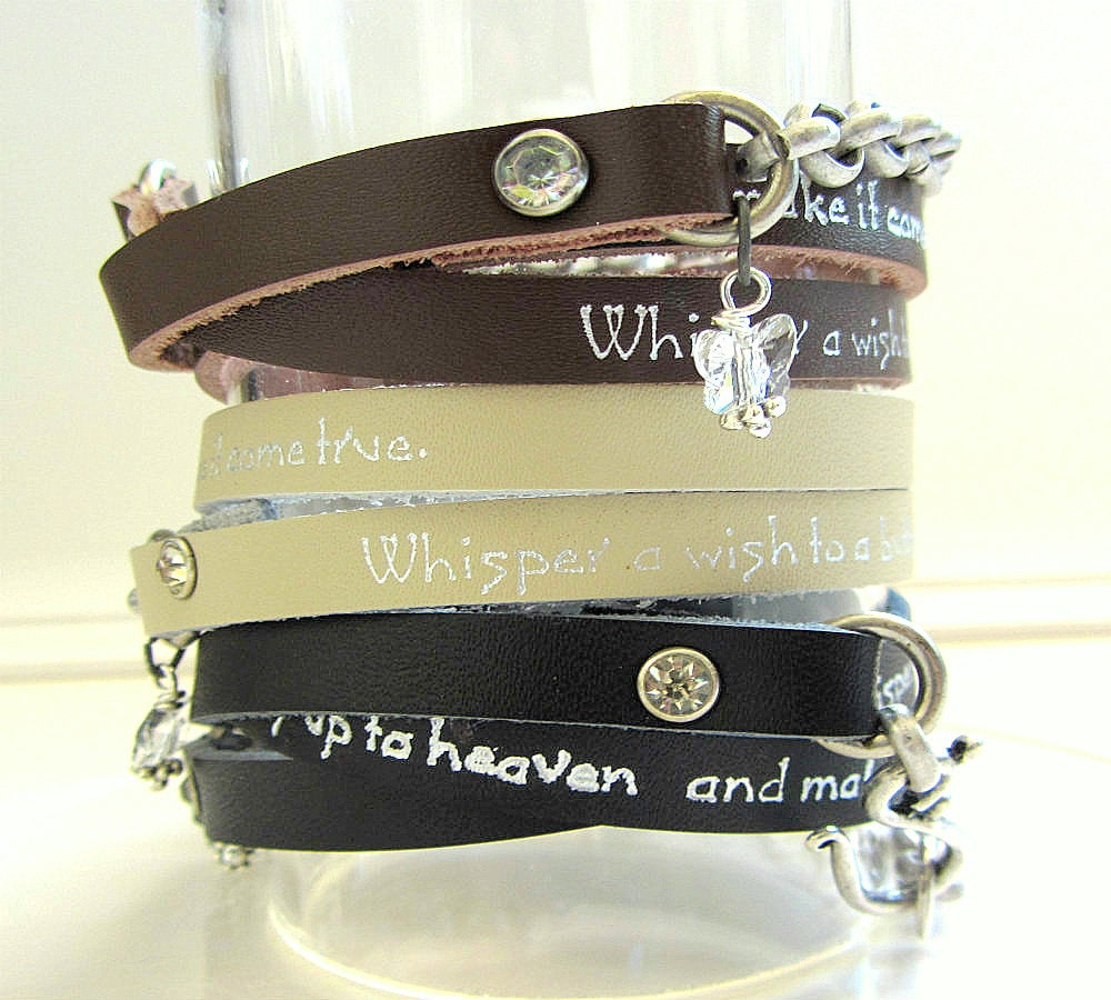 Whisper Bracelets on Whisper A Wish To A Butterfly Leather Wrap Bracelet Butterfly Jewelry