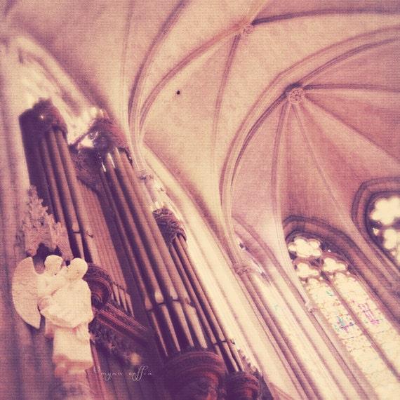 "San Francisco photograph.""Listen"". angel Grace Cathedral Nob Hill romantic, California french gothic architecture red orange purple print - MyanSoffia"