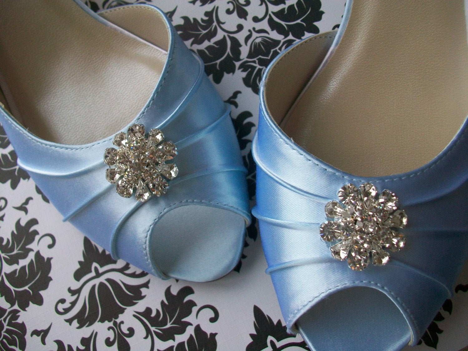 Baby Blue 1 3/4 Heel Satin Shoes With Rhinestones... Available In Medium And Wide... Over 100 Colors To Choose From